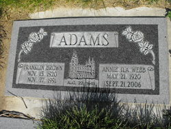 Annie Ila <I>Webb</I> Adams