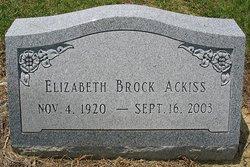 Mary Elizabeth <I>Brock</I> Ackiss
