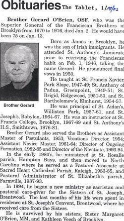 "Br James Gerard ""Brother Gerard"" O'Brien O.S.F."