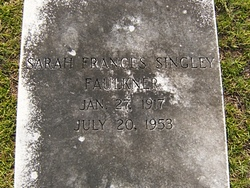 Sarah Frances <I>Singley</I> Faulkner