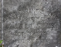 Anna <I>Durant</I> Adams