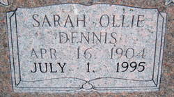 Sarah Ollie <I>Dennis</I> Hooe