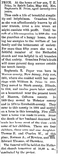 Euphemia Elizabeth <I>Poyer</I> Price