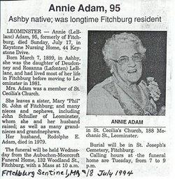 Annie V. <I>LeBlanc</I> Adam