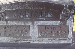 Mattie Marie Violet <I>Larson</I> Carlson
