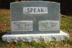 Sarah <I>Faires</I> Speak