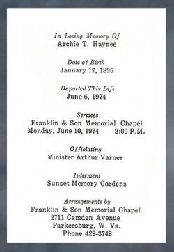 Archie Talbert Haynes, Sr