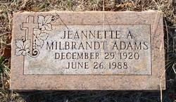Jeannette A <I>Milbrandt</I> Adams