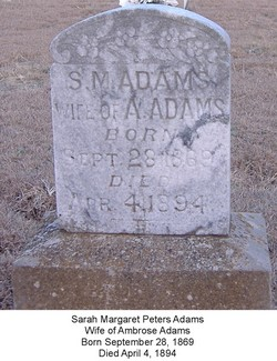 "Sarah Margaret ""Dollie"" <I>Peters</I> Adams"
