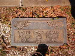 Mattie Lorraine <I>Davis</I> Adams