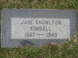 "Jane Smith ""Jennie"" <I>Knowlton</I> Kimball"
