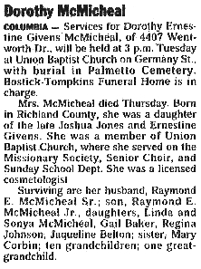 Dorothea Dorothy Ernestine <I>Givens</I> McMichael