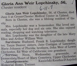 Gloria Ann <I>Weir</I> Lopchinsky