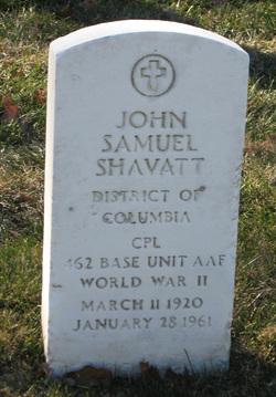 """Corp John Samuel """"Johnny"""" Shavatt"""