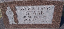 Sylvia <I>Lang</I> Staab