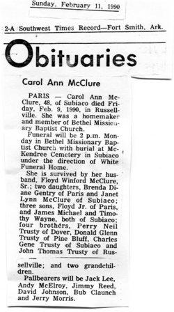 Carol Ann Trusty McClure (1941-1990) - Find A Grave Memorial