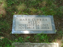 Mary Elizabeth <I>Currier</I> Allen