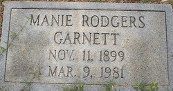 Mrs Manie <I>Rodgers</I> Garnett