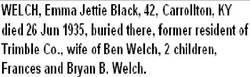 Emma Jettie <I>Black</I> Welch