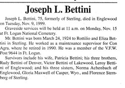 Joe L Bettini