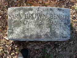 Sara <I>Brown</I> Benson