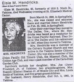 Elsie Mae <I>Lawson</I> Hendricks