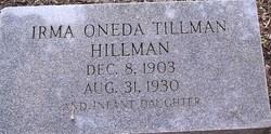 Irma Oneda <I>Tillman</I> Hillman