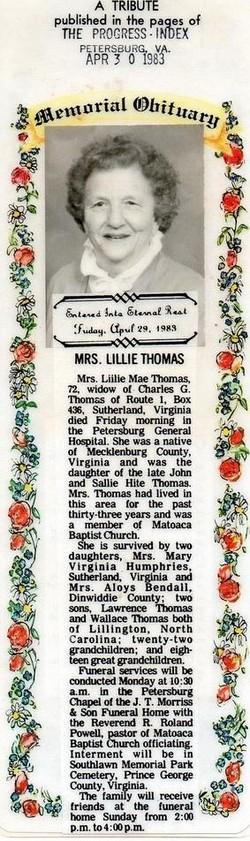 Lillie Mae Thomas