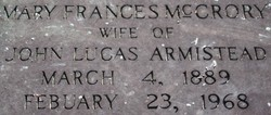 "Mary Frances ""Frankie"" <I>McCrory</I> Armistead"