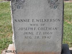 Nannie E <I>Wilkerson</I> Coleman