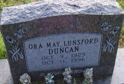 Ora May <I>Lunsford</I> Duncan