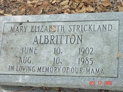 Mary Elizabeth <I>Strickland</I> Albritton