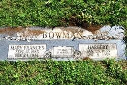 Mary Frances <I>Crook</I> Bowman
