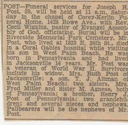 """Joseph Henry """"Joe"""" Post"""