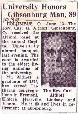 "Rev Charles Henry ""Rev. C. H."" Althoff"