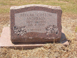 Beulah Aslee <I>Coston</I> Anderson