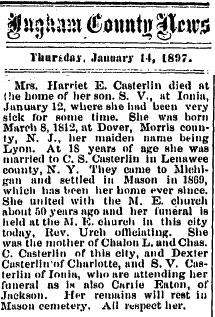 Harriet E <I>Lyon</I> Casterlin