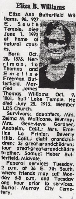 Eliza Ann <I>Butterfield</I> Williams