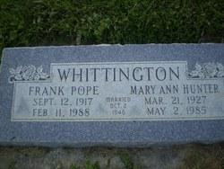 Mary Ann <I>Hunter</I> Whittington