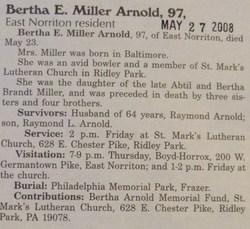Bertha E <I>Miller</I> Arnold