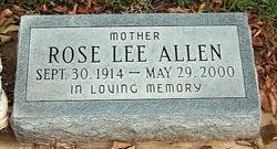 """Rose Lee """"Rosie"""" <I>Glasby</I> Allen"""