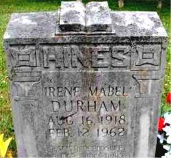 Irene Mabel <I>Durham</I> Hines