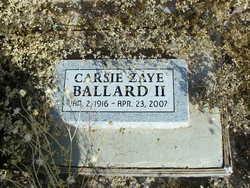 Carsie Zaye Ballard, II