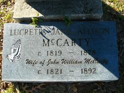 Lucretia Jane <I>Allison</I> McCarty
