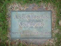 Anna <I>Benson</I> Anderson