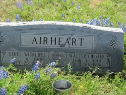Ethel Isabelle <I>Wickliffe</I> Airheart
