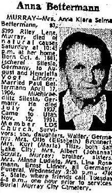 Anna Klara Selma <I>Lindner</I> Betterman