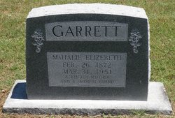 Mahalie Elizabeth <I>Vernon</I> Garrett