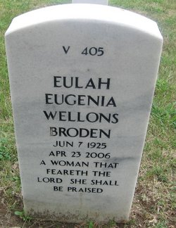 "Eulah Eugenia ""Jean"" <I>Wellons</I> Broden"