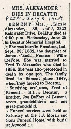 Elizabeth M <I>Defore</I> Alexander